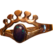 Sterling Mexico Hinged Bracelet  Reticulated Crown Design Bezel Set Azurite Oval Cabochon