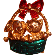 Enameled Figural Cat and Dog in a Basket Christmas Brooch with a Big Red Bow