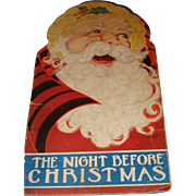 19 1/2 Inch  Tall Die Cut Shape Book 1937 The Night Before Christmas Big Book  Fern Bisel Poat, Illustrator