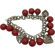 Sterling Silver Double Link Charm Bracelet With  1940's  Puffy Hearts and Bakelite Buttons