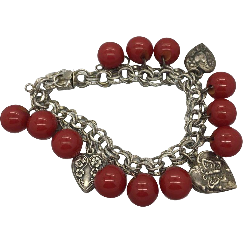 Sterling Silver 1940's Puffy Hearts Charm Bracelet Double Link With Bakelite Buttons