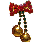 Articulated Jingle Bells Bow Christmas Pin Brooch With Rhinestones