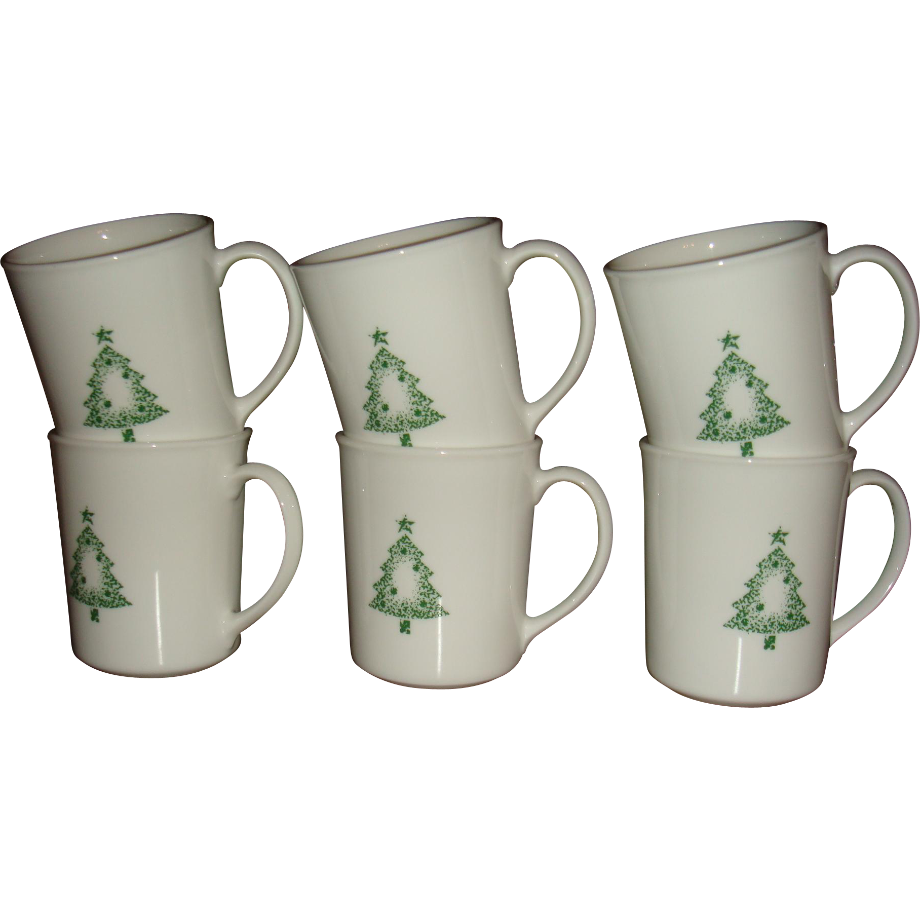 Set 0f 6 Corning USA Chrismtas Stencil Tree Mugs Llike New 27 + Years Old
