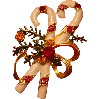 Colorful Enameled and Rhinestone Christmas Pin Candy Canes Tied Up with a Bow Brooch