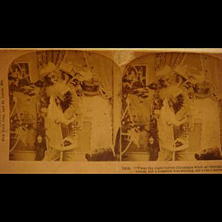 1897 Santa Claus Stereo View Card  by B. W. Kilburn Night Before Christmas
