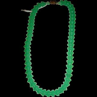 Art Deco Czechoslovakia Bell Shape Glass Jade Green Choker Necklace Jadite Clasp