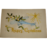 Happy Christmas French Silk Unused Postcard Early Aircraft Mistletoe Sunburst