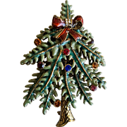 Avon 2004 First Annual Christmas Tree Pin Enamel and Rhinestone Brooch