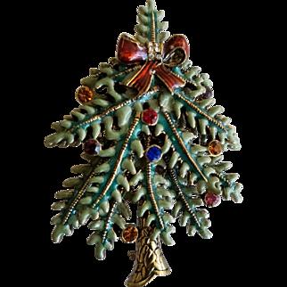 Avon 2004 First Annual Christmas Tree Pin Enamel and Rhinestone Brooch