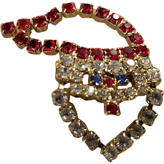 Mechanical Rhinestone Santa Claus Christmas Pin Whimsical Articulated Brooch