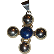 Large Mexico Sterling Silver and Lapis Cross Pendant 1970's - 1980's