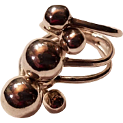 Sterling Silver Ornate Beaded Stacked Modernist Ring Triple Shank
