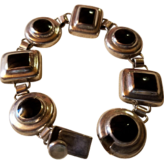 Mexico Sterling Silver Black Onyx Inlay Bracelet  Dimensional Circles and Squares
