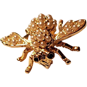 Vintage Joan Rivers Figural Bee Insect Pin with Faux Pearls and Rhinestones