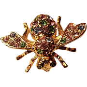 Joan Rivers Figural Bee Brooch Pastel Rhinestones Pin