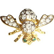 Joan Rivers Figural Bee Brooch Pave Clear Rhinestones