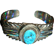 Native American Navajo Roy Begay Sterling Silver Bezel Set Turquoise Cuff Bracelet 70 Grams