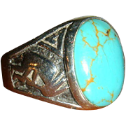 Stunning Native American Navajo Turquoise Ring Kokopelli Musicians, Dancers  Size 12