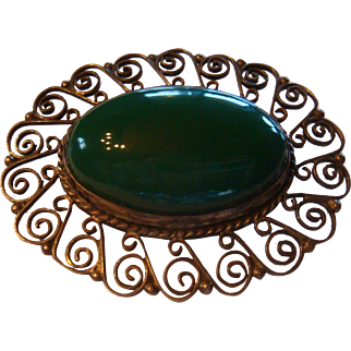 Early Mexico Sterling Silver Brooch Large Polished Green Onyx Cabochon Lacy Filigree Signed J E