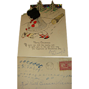 1929 Die  Cut Christmas Card Little Girl Silk Hair, Logging, Dog, Trees, IL, Envelope