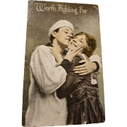 Early Wartime Worth Fighting For Patriotic U.S. Navy Postcard