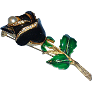 Heavy and Long  ART Enameled Flower Brooch With Faux Pearl and Rhinestones