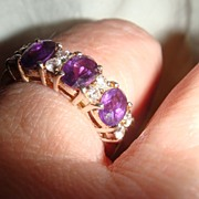 Size 8 Sterling Silver Amethyst and Clear Rhinestones or CZ Ring