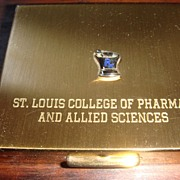 Goldtone & Blue Enamel Compact St. Louis College of Pharmacy & Applied Sciences