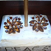 Flashy Amber or Cognac Colored Topaz & Aurora Borealis Vintage Earrings