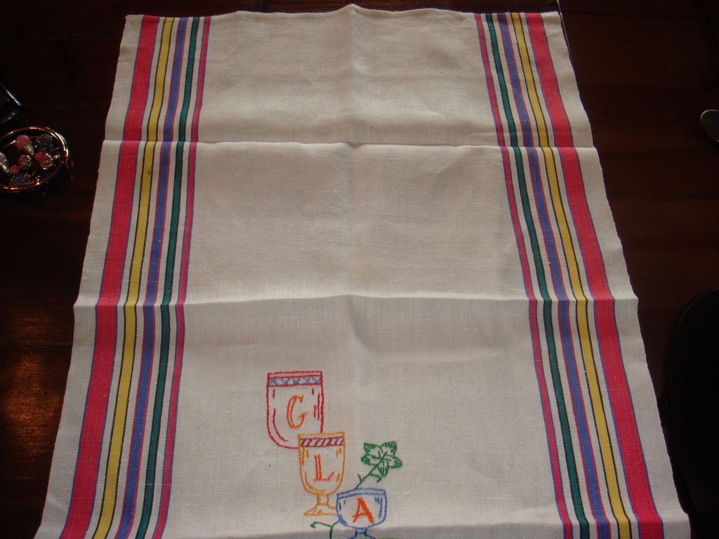 Vintage Linen Tea Towel With Embroidery & Primary Colors