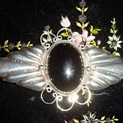 Beautiful Black Onyx and Mexican Silver Brooch Great Design!
