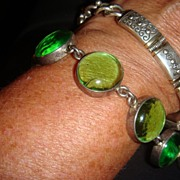 925 Sterling Silver & Poured Glass Bracelet With Toggle