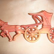 Fun Celluloid Horse and Buggy/Carriage Pin With C Clasp, Marked