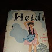 1939 HEIDI Hardback Book With Dust Jacket Great Classic!