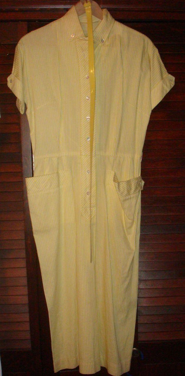 Vintage Abby Kent New York Shirtwaist Dress Yellow White Stripe Patent / Lucite Belt