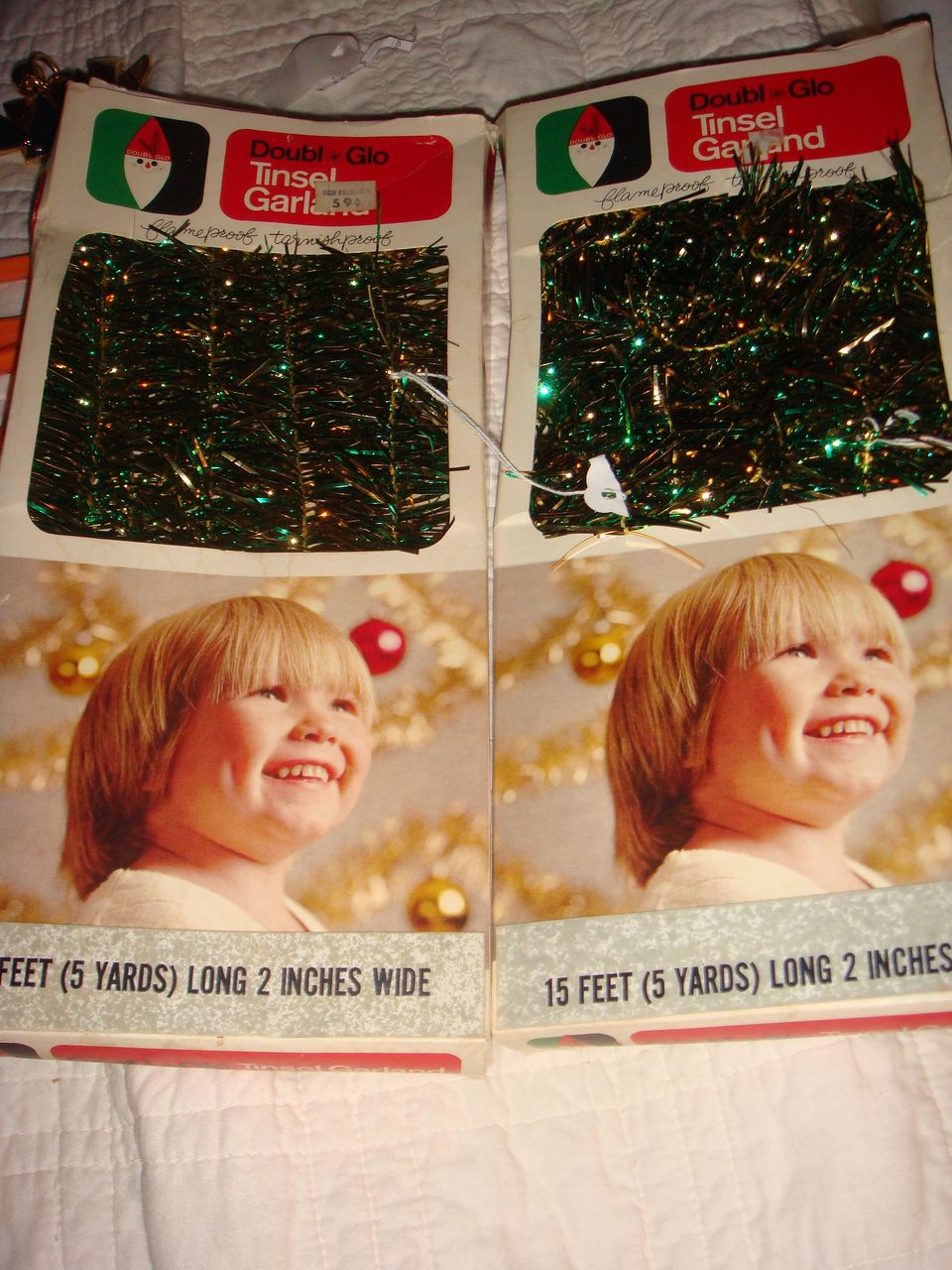 "2 Boxes Vintage Christmas Tree Icicles  ""Doubl * Glo Tinsel Garland from Ben Franklin!"