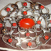 Wonderful Austrian Prong Set Carnelian Silver Brooch Great Design!