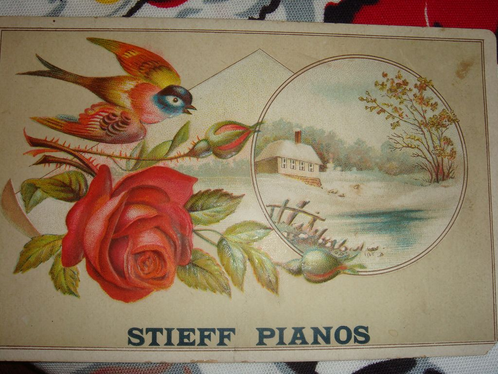 Stieff Pianos Trade Card: H. J. Shank, Harrisburg, Pennsylvania