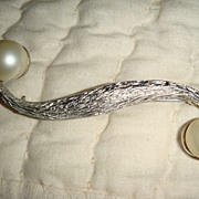 Brushed Silver Tone Pin/Brooch With Imitation Pearls...TARA