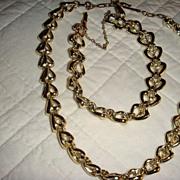 Coro Demi Parure Heart Necklace and Bracelet