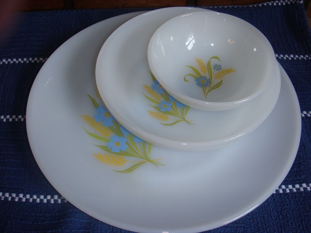 3 Piece Set Forget Me Not Fire King Dinnerware Mint Condition