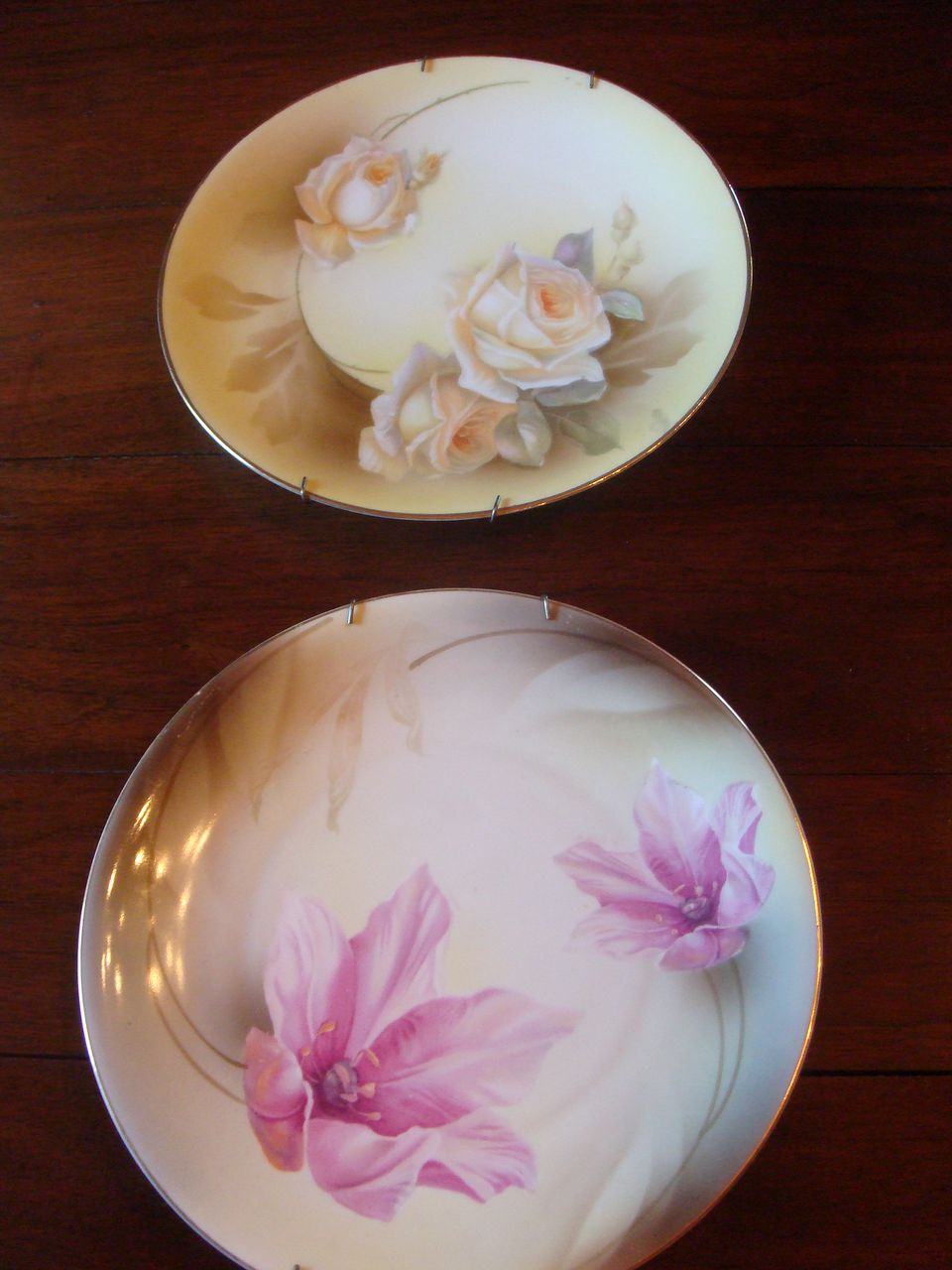 2 Lovely R S Germany Decorative Plates Roses and Iris