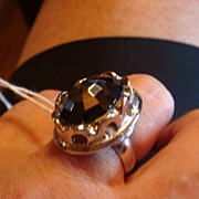 Whiting & Davis Hematite Silver Adjustable Costume Ring!