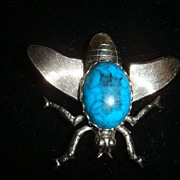 Big Old Fly Brooch Turquoise & Silvertone Large Wing Span