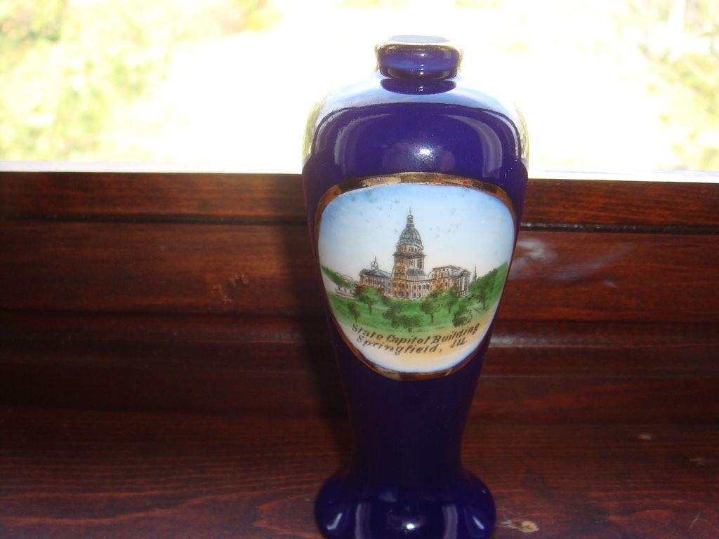 Springfield, ILL Capitol Bldg. Cobalt Vase Made in Germany