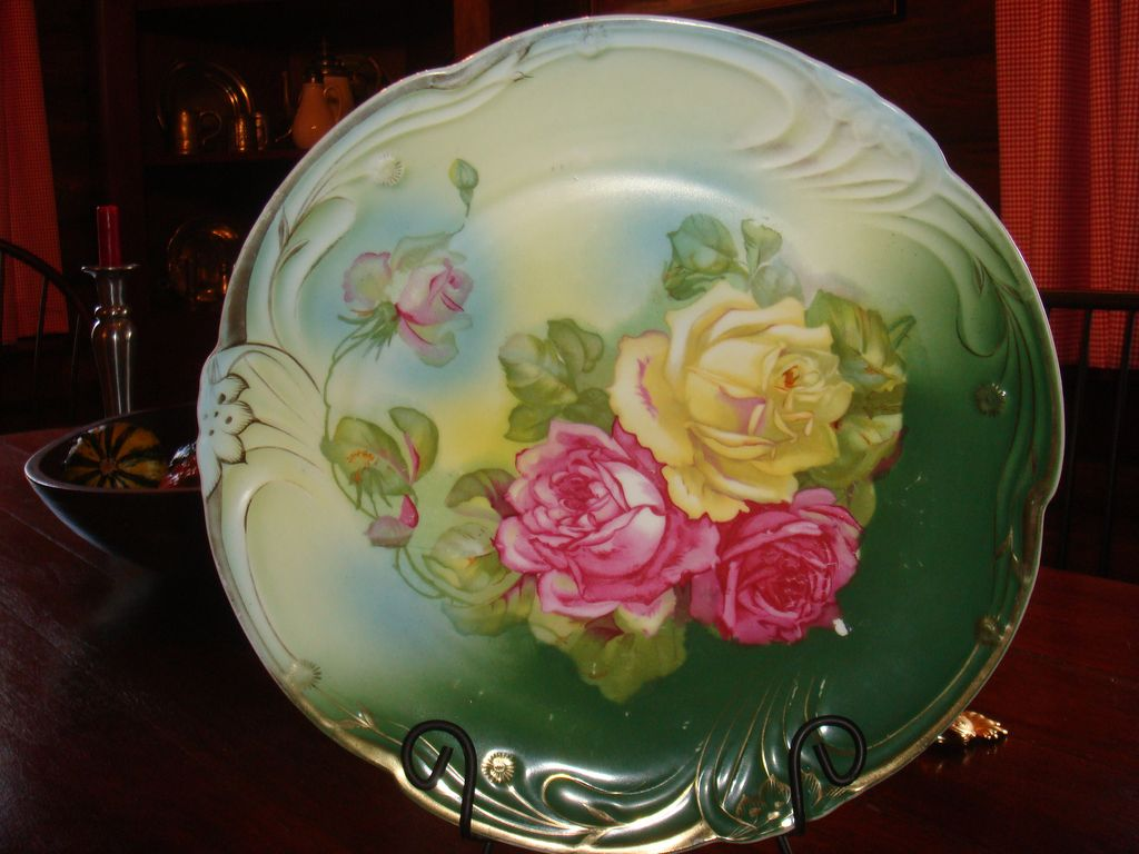 "12 1/4"" Bavarian Signed Rose Charger or Large Cabinet Plate Phenomenal Colors!!!"