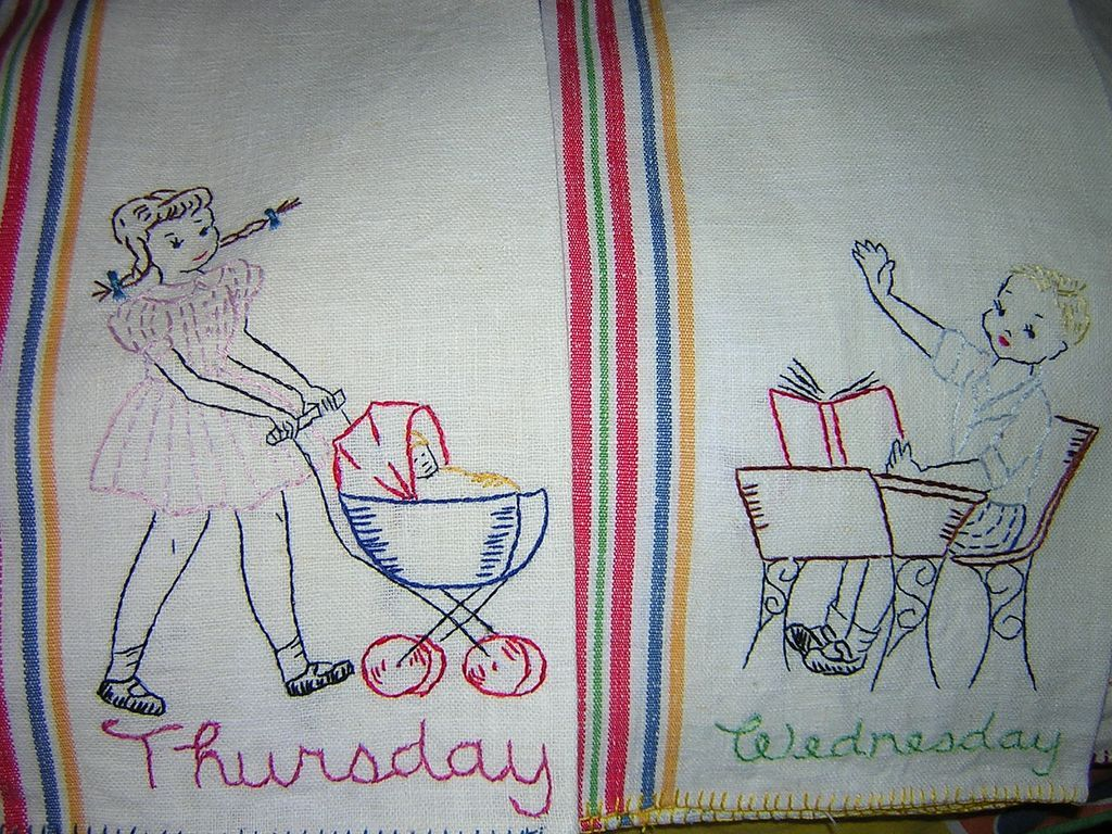 Embroidered  Towels 6 Days of Week