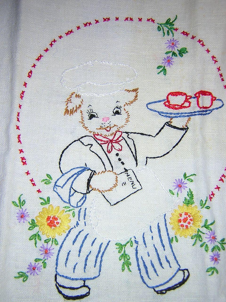 Hand Embroidered Dog Waiter Dish Towel