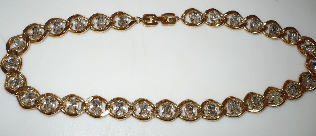 Givenchy Goldtone & Rhinestone Necklace