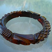 Deep Carved Sunflower Bakelite Bracelet